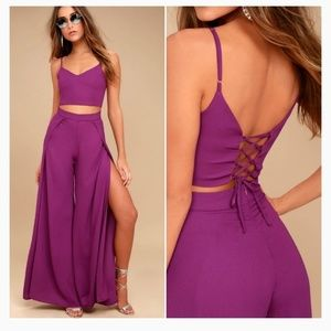 🌞Lulus OUT TONIGHT MAGENTA TWO-PIECE JUMPSUIT